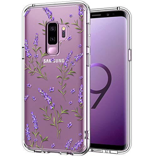 ICEDIO Galaxy S9 Plus Case Clear with Cute Purple Lavender Floral Flower Patterns for Girls Women,Shockproof Slim Fit TPU Bumper Cover Protective Phone Case for Samsung Galaxy S9+ Plus