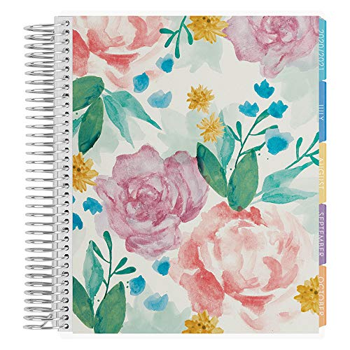 Erin Condren 18 - Month 2020-2021 Watercolor Blooms Coiled Life Planner with Layers Colorful Interior (July 2020 - December 2021) Horizontal Weekly Layout. Organizer, Calendar Tabs and Stickers