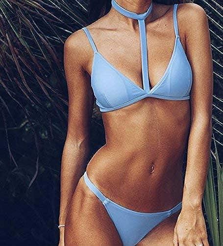 Wghz Bikini-Europe Et Les états-Unis Nouveau Bikinis Trois Points Plain Lace, M, Bleu