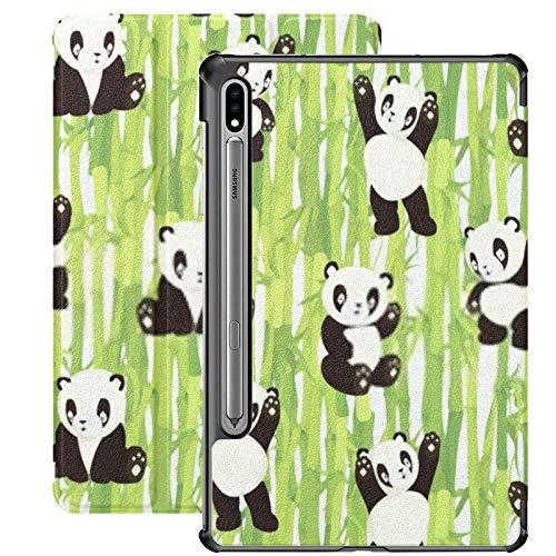 Funda Galaxy Tablet S7 Plus de 12,4 Pulgadas 2020 con Soporte para bolígrafo S, Osos Panda Kawaii Pandas Lindos, Varios Estuches Protectores con Soporte Delgado para Samsung