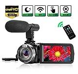 Caméscope Caméra Vidéo Camescope WiFi Vlog Caméscope avec Microphone Vision...