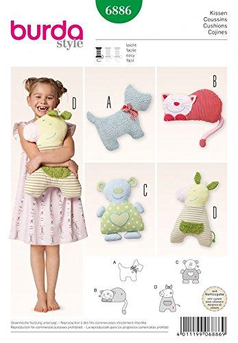 Burda Kinder Schnittmuster Nr. 6886Mädchen–Headcover/Tier Form Kissen Toys