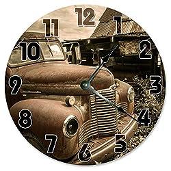 Sugar Vine Art Vintage Retro CAR Clock Large 10.5 Wall Clock Decorative Round Circle Clock Home Decor Garage Clock for HIM, Rustic Decor