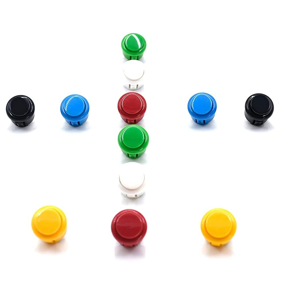 10 Pcs 24mm Push Buttons Arcade Video Games Red for Sanwa OBSF-24,OBSC-24,OBSN-24 Jamma Mame(Mix Color)…