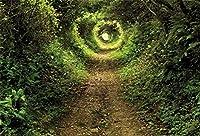 新しい9x6ftSpring風景森の小道の写真の背景緑の森の木自然の風景の背景旅行パーティー子供大人の肖像画スタジオ小道具室内装飾