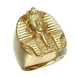 BOBIJOO JEWELRY - El Anillo De Sellar El Faraón del Antiguo Egipto Tutankamón Dorado De Oro Final El Hombre De Acero - 29 (13 US), Dorado - Acero Inoxidable 316