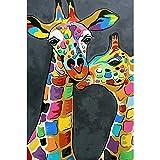 DIY 5D Diamond Pintura Kits Jirafa colorida pareja de animales Kit de Pintura de Diamantes 5D Diamante Bordado de Punto de Cruz, Manualidades para decoración de Pared 30x40 cm(Sin marco)