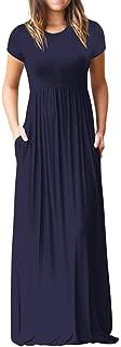UOKNICE Women Casual Pockets Short Sleeve O NeckSolid Swing Maxi Dress Sale