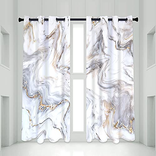 QIYI Grey Marble Blackout Window Curtain Panels, Gray Gold White Striped Marble Décor Living Room Bedroom Curtains 2 Panel Sets, Thermal Insulated Room Darkening Window Coverings Drapes, 53 x 72 Inch