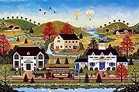 クラシックパズルゲーム 1000ピース木製ジグソーパズルゲームアメリカンカーニバル灯台沿岸ジェーンハッピータウン熱気球フロアパズルのおもちゃ大人の家の壁の装飾のギフト用 頑丈で簡単 (Color : F)