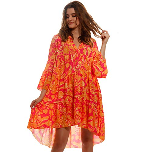 YC Fashion & Style Damen Tunika Kleid Sommer Allover Muster Boho Look Party-Kleid Freizeit Minikleid für Frauen mit Kurven HP219 Made in Italy (One Size, Orange/Paisley)
