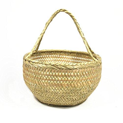 MOXIN Panier - Tissage Bamboo Basket Kitchen Outdoor Pique-nique , a , small round basket 14cm*25cm