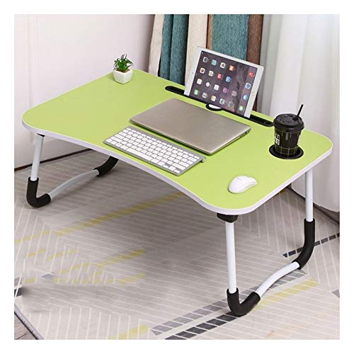 Computer Workstations Large Laptop Bed Table with Foldable Legs Breakfast Serving Bed Tray Stand Reading Holder for Couch Sofa Kids Play Table Portable Table (Color : Green, Size : 60X40X28CM)