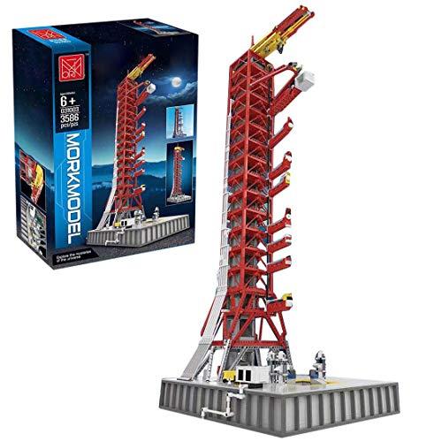KOAEY 3586 Teile Apollo Startrampe Baustein Displayständer Modell für Lego 92176 NASA Apollo Saturn V Weltraumrakete und Fahrzeuge