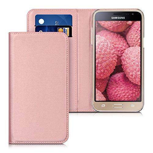 kwmobile Funda Compatible con Samsung Galaxy J3 (2016) DUOS - Carcasa con Tapa Tipo Libro para móvil - Case en Oro Rosa