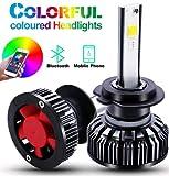 ANTUU Coche RGB LED Faro H4 H7 Coche Faro LED Bombillas APP Contrôle Bluetooth Multi-couleur 50W 7600LM (H7)