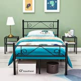 GreenForest Twin Size Bed Frame with Headboard Metal Platform Bed for Kids Boys Girls 11inch Mattress Foundation Bed Base with Heavy Duty Support No Box Spring Needed, Black