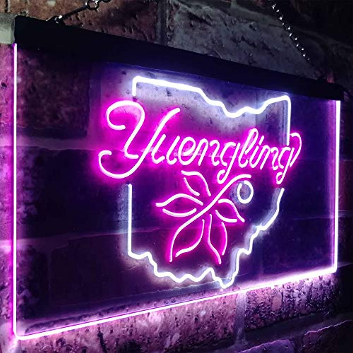 Zusme Yuengling Ohio State Buckeye Larger Beer Novelty LED Neon Sign Weiß + lila W40cm x H30cm