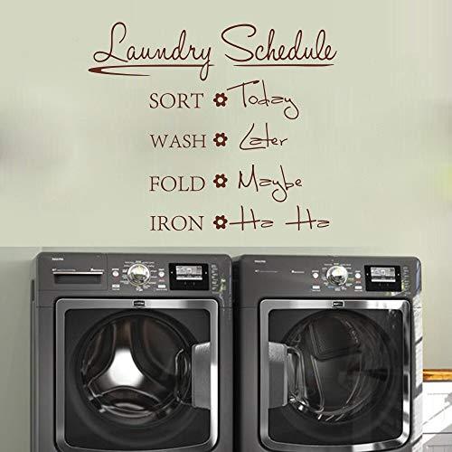 Ofomox Horario de lavandería Cita Etiqueta de la Pared baño baño Cuarto de Lavado Tatuajes de Pared Vinilo decor56cmx47