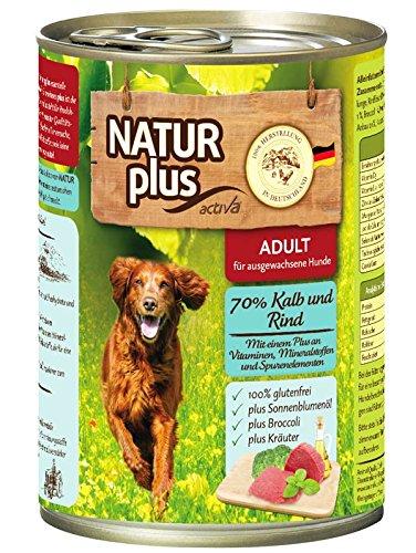 Natur Plus Hundefutter Adult mit 70% Kalb & Rind (glutenfrei) (6 x 400 g)