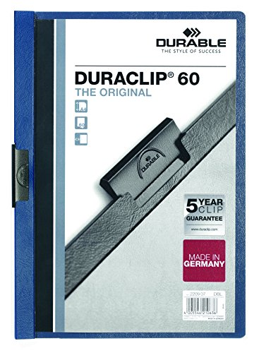 DURABLE Vinyl DURACLIP Report Cover, Letter, Holds up to 60 Pages, Clear/Dark Blue, 25 per Box (221407)