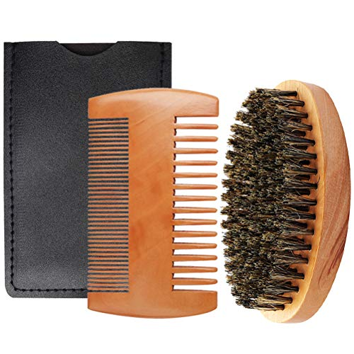 kuou Beard Comb Brush Set, Boar Bristle Beard Brush, Portable Hair Comb...