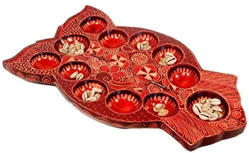 Terrapin Trading Handmade Indonesische hölzerne Sungka Congkak traditionelles Brettspiel und Pieces - Owl S