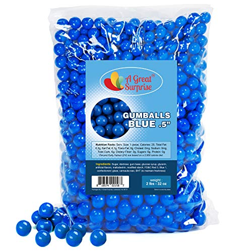Gumballs in Bulk - Dark Blue Gumballs for Candy Buffet - Mini Gumballs 1/2 Inch, Bulk Candy 2 LB