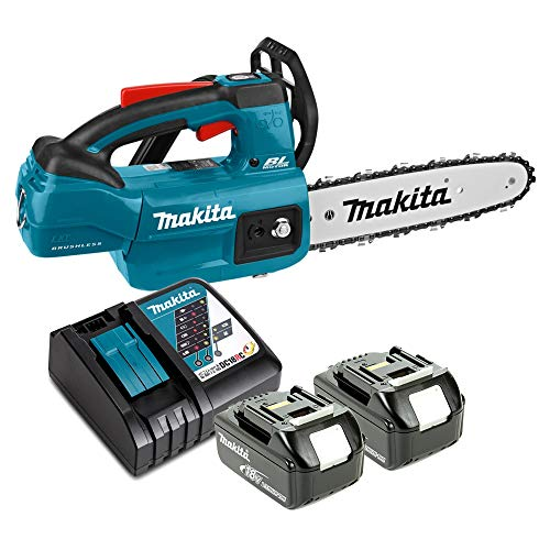 Makita DUC254 18V Brushless Chainsaw with 2 x 5Ah Batteries & Charger
