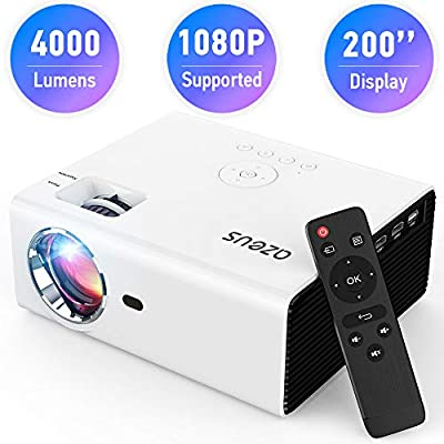 AZEUS RD-822 Video Projector, 4000 Lux 1920x1080 Supported with Built-in HiFi Sound Speaker, Compatible with PS4, HDMI, VGA, USB, Laptop, Phone, TV Box, Mini Portable HDMI Projector [2019 Model]