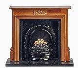 Melody Jane Puppenhaus Walnuss Kamin mit Feuer Schwarz Rost Miniatur Möbel 1:12