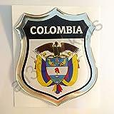 All3dstickers Pegatina Escudo de Armas Colombia Relieve 3D Emblema Colombia Resina Adhesivo Vinilo