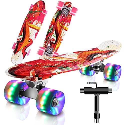 Cutemelo Skateboards 55cm Mini Cruiser Skateboard Completo retrò per Ragazzo, Ragazza, Giovani, Adulti, Principianti con Ruote LED Lampeggianti, con Strumento T (Graffiti Rosa)