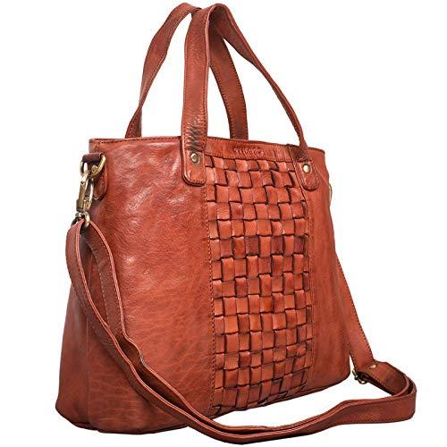 STILORD Mara Elegante Handtasche geflochtenes Leder mit abnehmbaren Schulterriemen Abendtasche Ausgehtasche Echtleder, Farbe:Cognac - Used