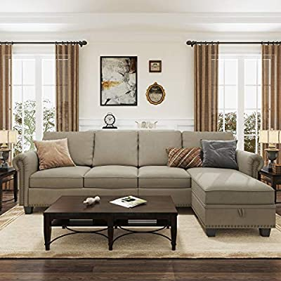Nolany Convertible Sectional Sofa for Apartment L Shaped Couch with Reversible Chaise 4 Seater Sectional Couch with Storage Ottoman, Dark Khaki