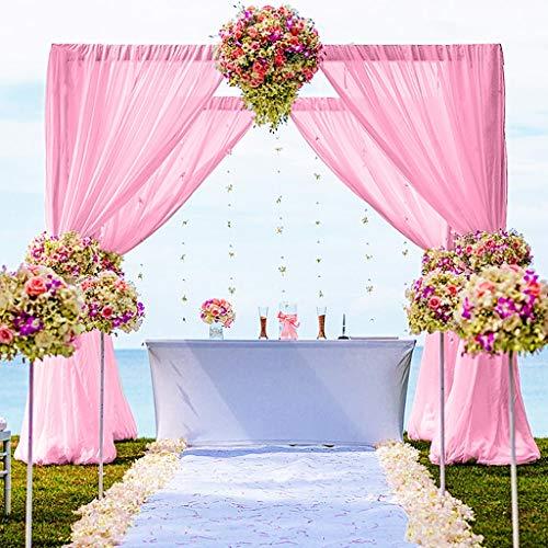 Chiffon Backdrop Curtain 5FTx7FT Chiffon Fabric Drapes for Wedding Ceremony Chiffon Voile Curtains 2 Panels 29''x84'' Photography Backdrop Drapes Party Stage Backdrop Chiffon (29''x84''x2pcs, Pink)