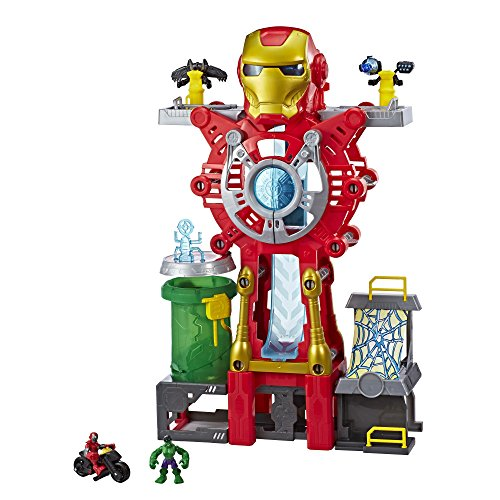 Playskool Heroes Marvel Super Hero Adventures Iron Man Headquarters Playset, Iron Man & Hulk 2.5' Action Figures, Vehicle, Toys for Kids Ages 3 & Up