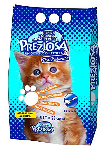 Lettiera per gatti Super Agglomerante Bianca fine Non Profumata - Confezione da 5 Litri