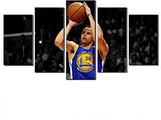 WALKKING WAYS Wall Art Paintings for Wall Decorations,Stephen Curry Slam Dunk Canvas and Posters 5 Panels Pictures Wall Decor Prints (No Frame,8X12inch-2P 8X16inch-2P 8X20inch-1P)