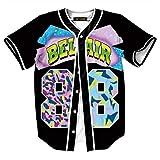 HOP FASHION Youth Unisex Boy Girl Baseball Jersey Short Sleeve 3D Number 88 Print Baseketball Dance Team Uniform Tees HOPM007-126-XL