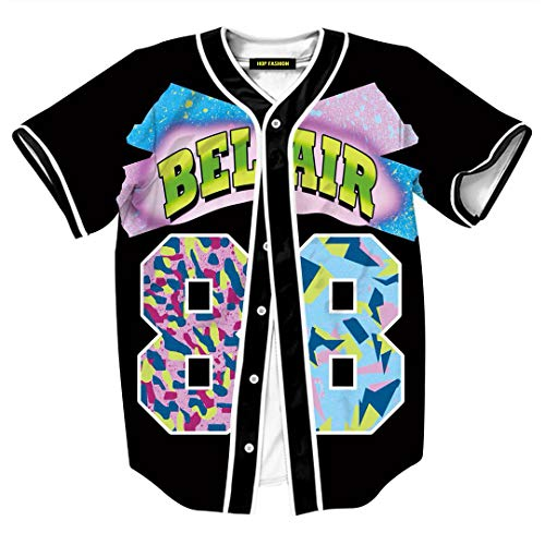 HOP FASHION Youth Unisex Boy Girl Baseball Jersey Short Sleeve 3D Number 88 Print Baseketball Dance Team Uniform Tees HOPM007-126-XXL