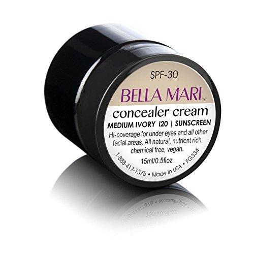Natural Concealer Cream by Bella Mari (Medium Ivory, 0.5 Fl Oz Jar) - Made with Organic Ingredients...