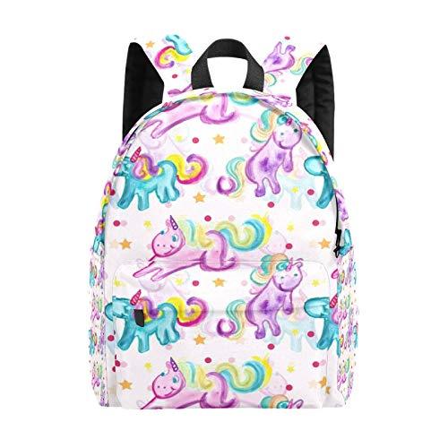 Bolsa grande para ordenador portátil, diseño de unicornio, acuarela y estrellas, para niñas, ligera, bolsa de viaje, mochila para ordenador portátil, para niños, hombres y mujeres