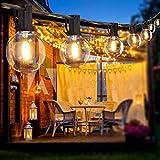 BRTLX LEDストリングライト 防雨型 5.5m 12個led電球付き E12口金 LEDイルミネーションライト 2700K 電球色相当 黒 10個ソケット 庭お 祭り 学園祭照明 クリスマス イルミネーション 装飾ライト 誕生日パーティー電飾 結婚式飾り