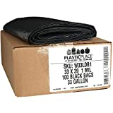 """Plasticplace 32-33 Gallon Trash Bags │ 1 Mil │ Black Heavy Duty Garbage Can Liners │ 33"""" x 39"""" (100 Count)"""