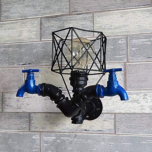 Kleine kooivorm met E27 Edison wandlamp Retro Industrieloft Robuust Steampunk ijzer metaal antieke wandlamp sanitair kraan wandlamp wandlamp