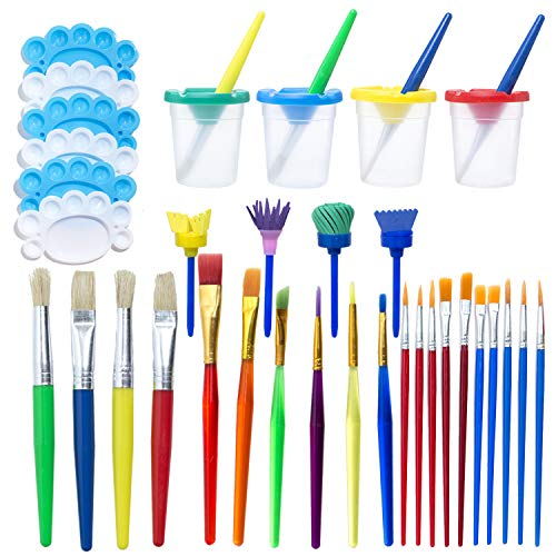 34Pcs No Spill Paint Cups Set Paint Supplies Include Paint Cups with Lids Palette Tray Muti Sizes Paint Pen Brushes Set for Kids Gifts School Prizes Art Party (34 Pcs)