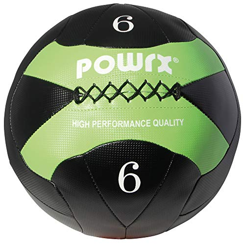 POWRX Wall-Ball I 2-10 kg I Medizinball Gewichtsball in versch. Farben I Gymnastikball Deluxe (6 kg Schwarz/Hellgrün)
