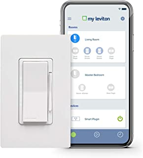 Leviton DW6HD-1BZ Decora Smart Wi-Fi 600W Incandescent/300W LED Dimmer, No Hub Required, Works with Alexa, Google Assistant and Nest