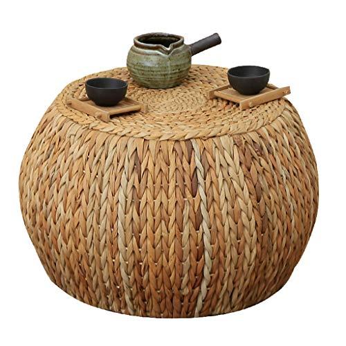Rotan salontafel kruk/ronde voetenbank, rustieke stijl stro bank eenvoudige schoen bank, geschikt voor woonkamer, slaapkamer, binnenplaats